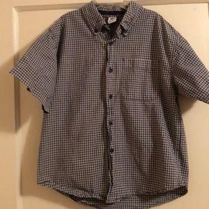 Boys Gap navy plaid shirt-sleeves shirt